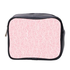 Elios Shirt Faces In White Outlines On Pale Pink Cmbyn Mini Toiletries Bag 2 Side by PodArtist