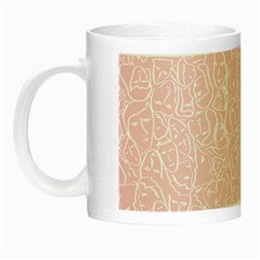 Elios Shirt Faces In White Outlines On Pale Pink Cmbyn Night Luminous Mugs by PodArtist