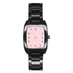 Elios Shirt Faces In White Outlines On Pale Pink Cmbyn Stainless Steel Barrel Watch by PodArtist