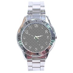 Black And White Checkerboard Weimaraner Stainless Steel Analogue Watch by PodArtist
