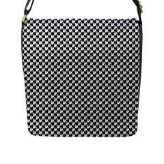Black And White Checkerboard Weimaraner Flap Messenger Bag (l)  by PodArtist