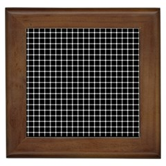 Black And White Optical Illusion Dots And Lines Framed Tiles by PodArtist
