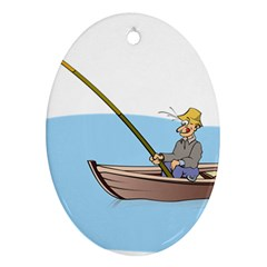 Fishing Fish Fisherman Boat Mare Ornament (oval) by Sapixe