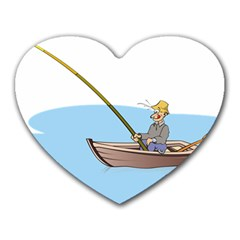 Fishing Fish Fisherman Boat Mare Heart Mousepads