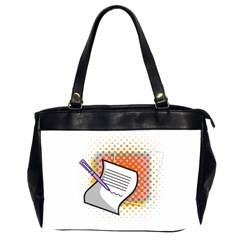 Letter Paper Note Design White Office Handbags (2 Sides)  by Sapixe