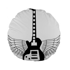 Guitar Abstract Wings Silhouette Standard 15  Premium Flano Round Cushions