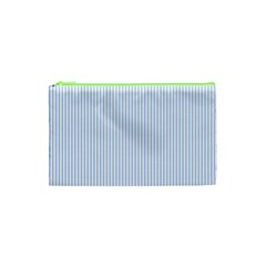Alice Blue Pinstripe In An English Country Garden Cosmetic Bag (xs) by PodArtist