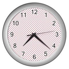 Usa Flag Red Stars On White Wall Clocks (silver)  by PodArtist