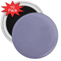 Usa Flag Blue & White Wavy Zigzag Chevron Stripes 3  Magnets (10 Pack)