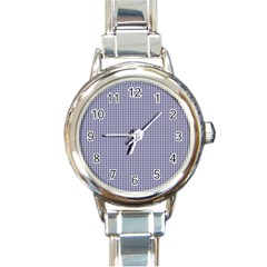 Usa Flag Blue And White Gingham Checked Round Italian Charm Watch by PodArtist