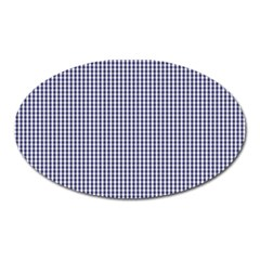 Usa Flag Blue And White Gingham Checked Oval Magnet