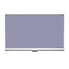 Usa Flag Blue And White Gingham Checked Business Card Holders by PodArtist