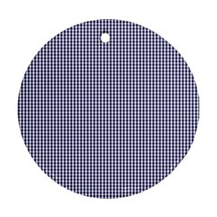 Usa Flag Blue And White Gingham Checked Round Ornament (two Sides) by PodArtist