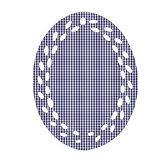 Usa Flag Blue And White Gingham Checked Oval Filigree Ornament (two Sides) by PodArtist