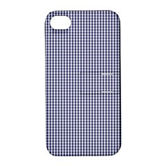 Usa Flag Blue And White Gingham Checked Apple Iphone 4/4s Hardshell Case With Stand by PodArtist