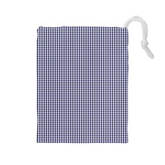 Usa Flag Blue And White Gingham Checked Drawstring Pouches (large)
