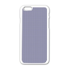 Usa Flag Blue And White Gingham Checked Apple Iphone 6/6s White Enamel Case by PodArtist