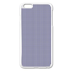 Usa Flag Blue And White Gingham Checked Apple Iphone 6 Plus/6s Plus Enamel White Case by PodArtist