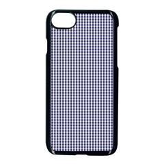 Usa Flag Blue And White Gingham Checked Apple Iphone 8 Seamless Case (black) by PodArtist