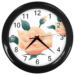 Rose Flower Nature Floral Summer Wall Clocks (black) by Sapixe