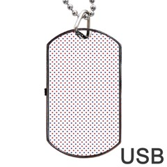 Usa Flag Red And Flag Blue Stars Dog Tag Usb Flash (two Sides) by PodArtist
