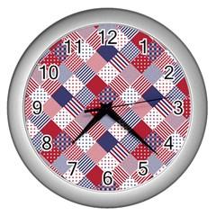 Usa Americana Diagonal Red White & Blue Quilt Wall Clocks (silver)  by PodArtist