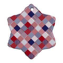 Usa Americana Diagonal Red White & Blue Quilt Snowflake Ornament (two Sides)
