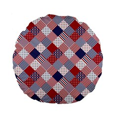 Usa Americana Diagonal Red White & Blue Quilt Standard 15  Premium Flano Round Cushions by PodArtist