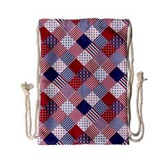 Usa Americana Diagonal Red White & Blue Quilt Drawstring Bag (small) by PodArtist