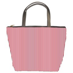 Usa Flag Red And White Stripes Bucket Bags by PodArtist