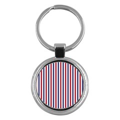 Usa Flag Red White And Flag Blue Wide Stripes Key Chains (round)  by PodArtist