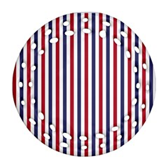 Usa Flag Red White And Flag Blue Wide Stripes Ornament (round Filigree) by PodArtist