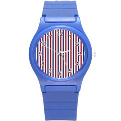 Usa Flag Red White And Flag Blue Wide Stripes Round Plastic Sport Watch (s) by PodArtist