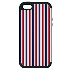 Usa Flag Red White And Flag Blue Wide Stripes Apple Iphone 5 Hardshell Case (pc+silicone) by PodArtist