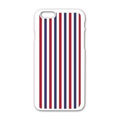 Usa Flag Red White And Flag Blue Wide Stripes Apple Iphone 6/6s White Enamel Case by PodArtist