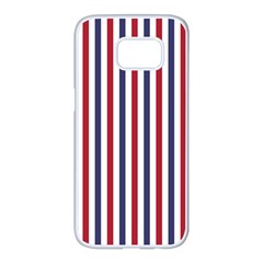 Usa Flag Red White And Flag Blue Wide Stripes Samsung Galaxy S7 Edge White Seamless Case by PodArtist