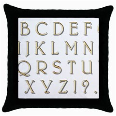 Letters Gold Classic Alphabet Throw Pillow Case (black) by Sapixe