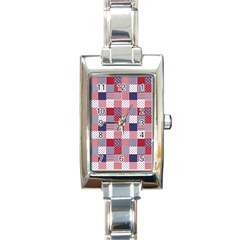 Usa Americana Patchwork Red White & Blue Quilt Rectangle Italian Charm Watch by PodArtist