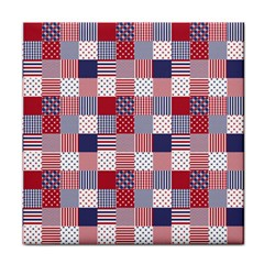 Usa Americana Patchwork Red White & Blue Quilt Tile Coasters by PodArtist