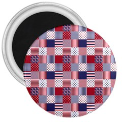 Usa Americana Patchwork Red White & Blue Quilt 3  Magnets by PodArtist