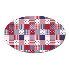 Usa Americana Patchwork Red White & Blue Quilt Oval Magnet by PodArtist