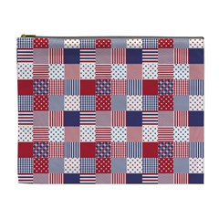 Usa Americana Patchwork Red White & Blue Quilt Cosmetic Bag (xl)