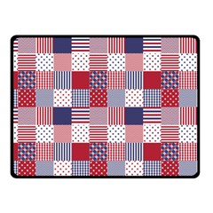 Usa Americana Patchwork Red White & Blue Quilt Fleece Blanket (small) by PodArtist