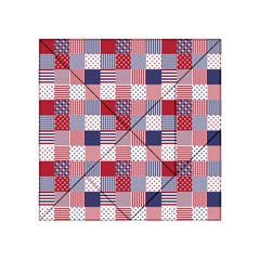 Usa Americana Patchwork Red White & Blue Quilt Acrylic Tangram Puzzle (4  X 4 ) by PodArtist