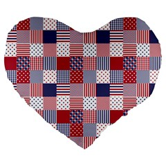 Usa Americana Patchwork Red White & Blue Quilt Large 19  Premium Flano Heart Shape Cushions by PodArtist