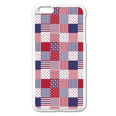 Usa Americana Patchwork Red White & Blue Quilt Apple Iphone 6 Plus/6s Plus Enamel White Case