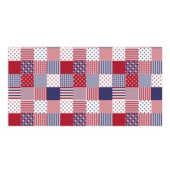 Usa Americana Patchwork Red White & Blue Quilt Satin Shawl
