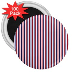 Usa Flag Red And Flag Blue Narrow Thin Stripes  3  Magnets (100 Pack) by PodArtist