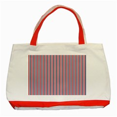 Usa Flag Red And Flag Blue Narrow Thin Stripes  Classic Tote Bag (red) by PodArtist