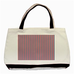 Usa Flag Red And Flag Blue Narrow Thin Stripes  Basic Tote Bag (two Sides) by PodArtist
